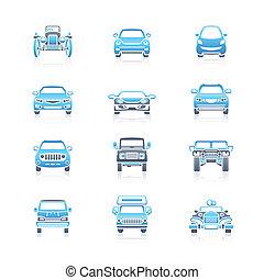 iconos, coches, frente, marina, |, vista