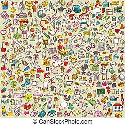 iconos, colección, grande, escuela, educación