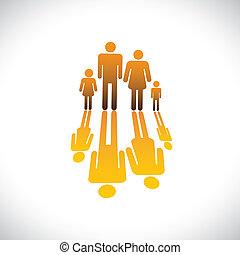 iconos, color, gente, naranja, ilustración, padre, hija, familia , hijo, gráfico, symbols-, cuatro, reflexión, y, madre