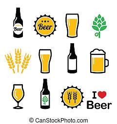 iconos, colorido, conjunto, cerveza, vector