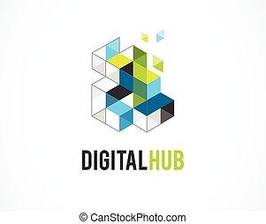 iconos coloridos, creativos, abstractos y digitales, edificio, elemento inmobiliario y símbolo, plantilla de logo