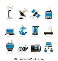 iconos, comunicación, tecnología