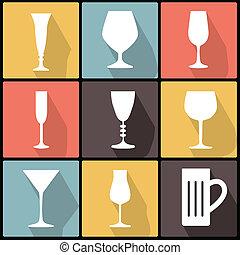 Iconos con copas en diseño plano