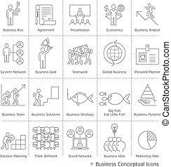 Iconos conceptuales de administración de negocios. Al estilo Vector delgada línea.