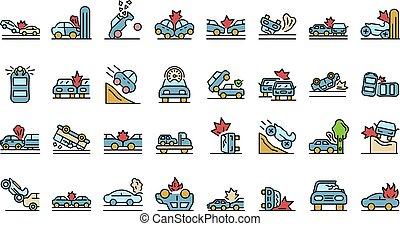 iconos, conjunto, accidente de coche, vector, plano