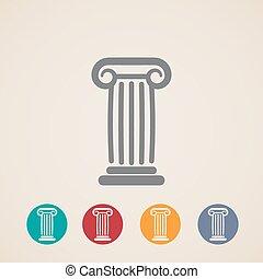 iconos, conjunto, columna, antiguo