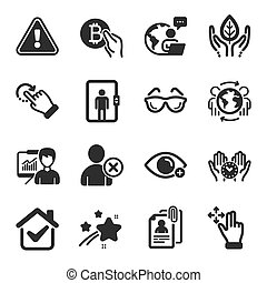 iconos, conjunto, gente, tal, lentes, vector, symbols., documentos, entrevista, presentación