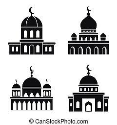 iconos, conjunto, islam, mezquita, estilo, simple