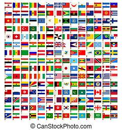 iconos, conjunto, mundo, bandera