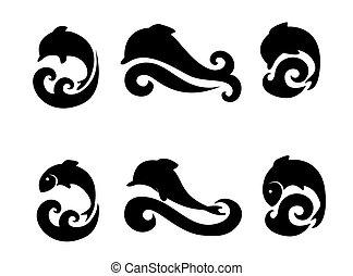 iconos, conjunto, pez, delfines