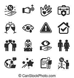 iconos, conjunto, tal, vector, symbols., descuento, enfermera, gente, préstamo, porcentaje
