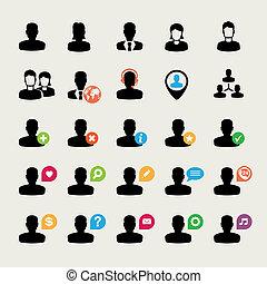 iconos, conjunto, usuario