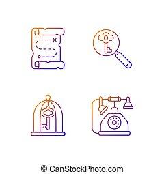 iconos, conjunto, vector, el solucionar, gradiente, lineal, búsqueda