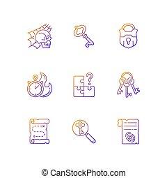 iconos, conjunto, vector, gradiente, lineal, búsqueda