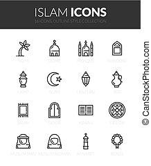 iconos, contorno, conjunto, negro