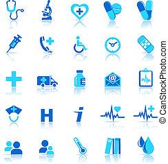 iconos, cuidado, salud