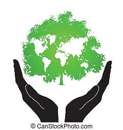 iconos de árbol con manos