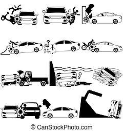 Iconos de accidente de coche personal