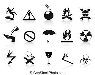 iconos de advertencia negra listos