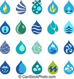 iconos de agua y elementos de diseño.