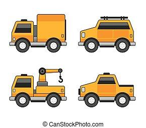 Iconos de auto naranja listos. Vector