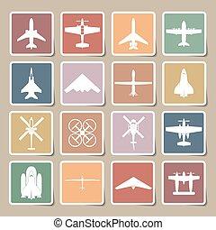 iconos de avión listos