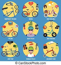 iconos de bicicleta listos