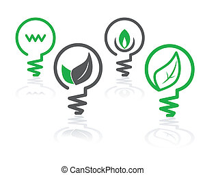 iconos de bombillas verdes