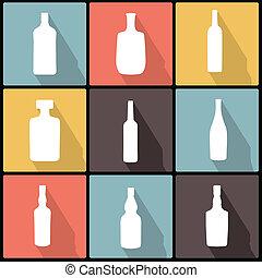 iconos de botella en diseño plano para web y móvil