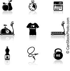 Iconos de calidad con reflexión