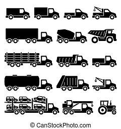 iconos de camiones listos