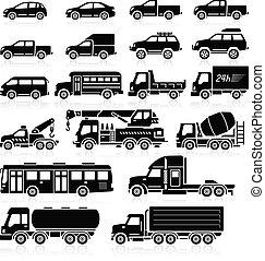 Iconos de coches listos. Ilustración de vectores