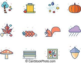 iconos de color plano - otoño