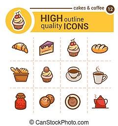 iconos de colores de la panadería