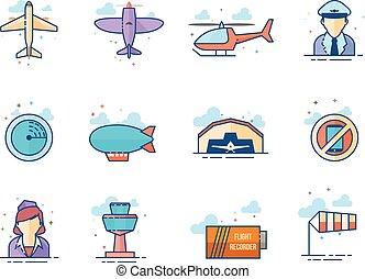 iconos de colores planos, aviación