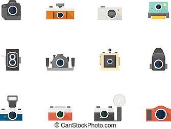 iconos de colores planos, cámaras