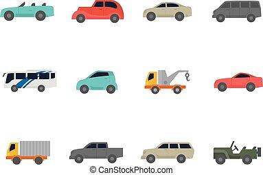 iconos de colores planos, coches