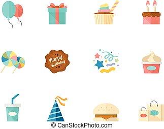iconos de colores planos, cumpleaños