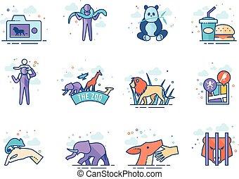 iconos de colores planos.