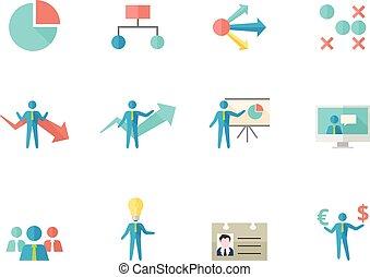 Iconos de colores planos, negocios