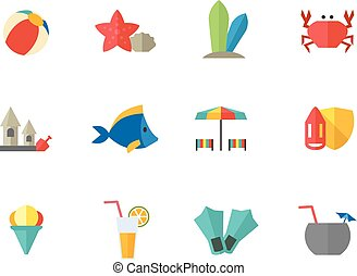 iconos de colores planos, playa