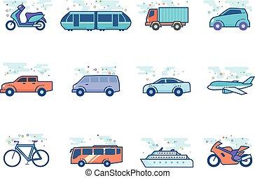 iconos de colores planos, transporte