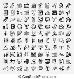 Iconos de comunicación de garabatos listos