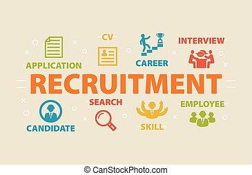 iconos de concepto, reclutamiento