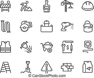 iconos de construcción de línea