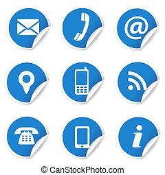 iconos de contacto en las etiquetas azules