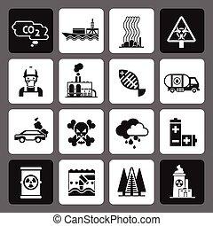 iconos de contaminación en conjunto negro