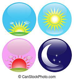 iconos de día y de noche listos