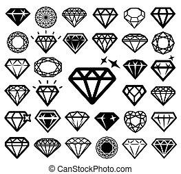 iconos de diamantes listos.