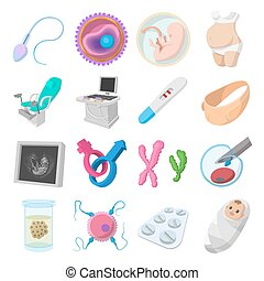 Iconos de dibujos animados del embarazo